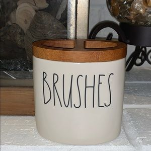 Rae Dunn Pottery and Wood BRUSHES Holder